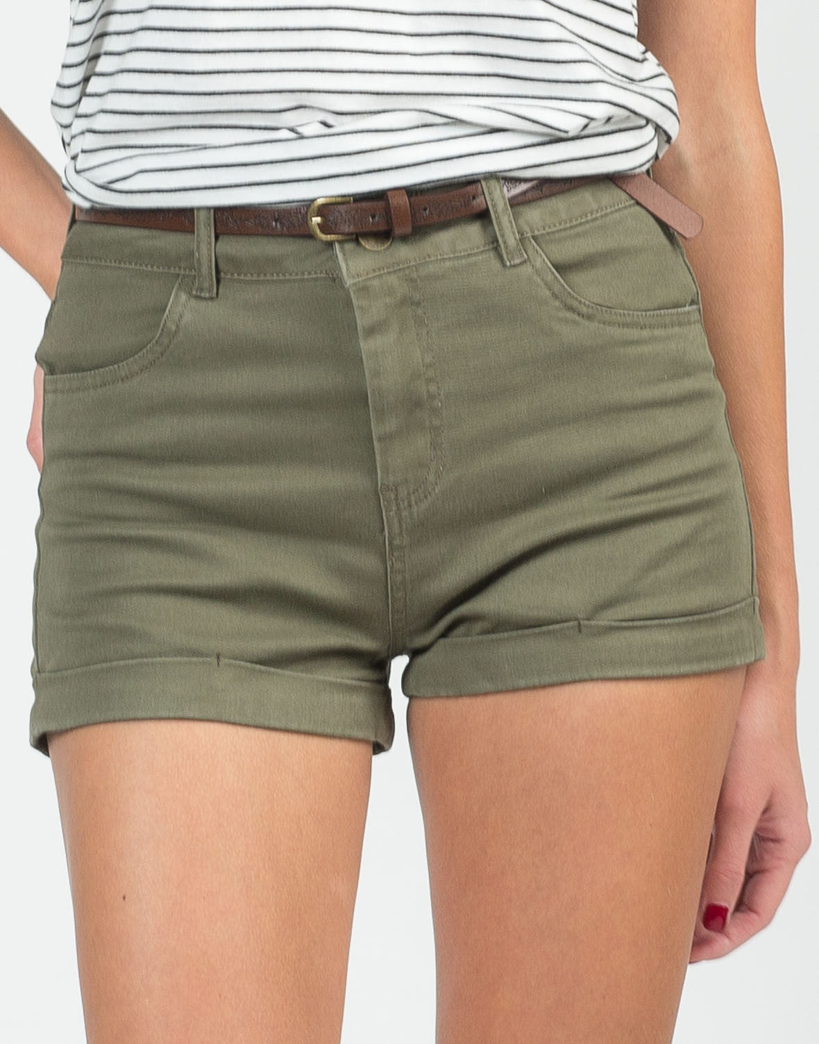 Detail of Belted Twill Shorts