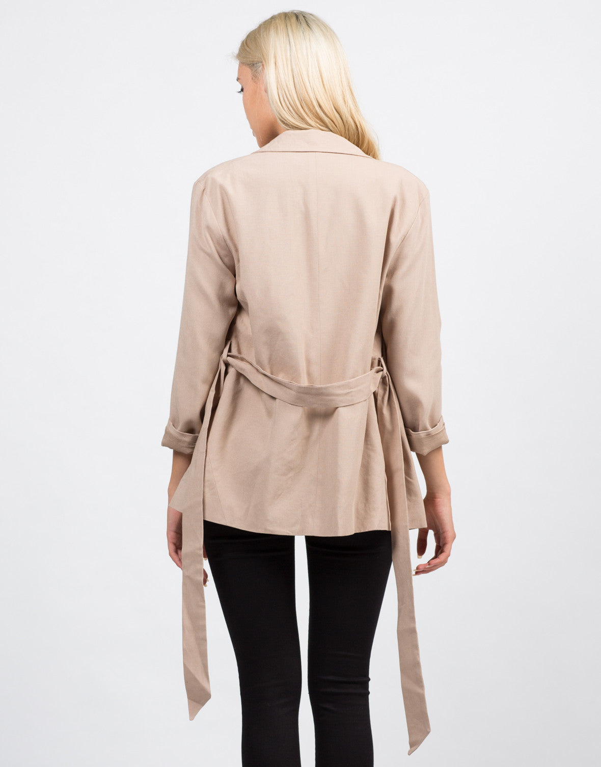 Back View of Belted Utility Jacket