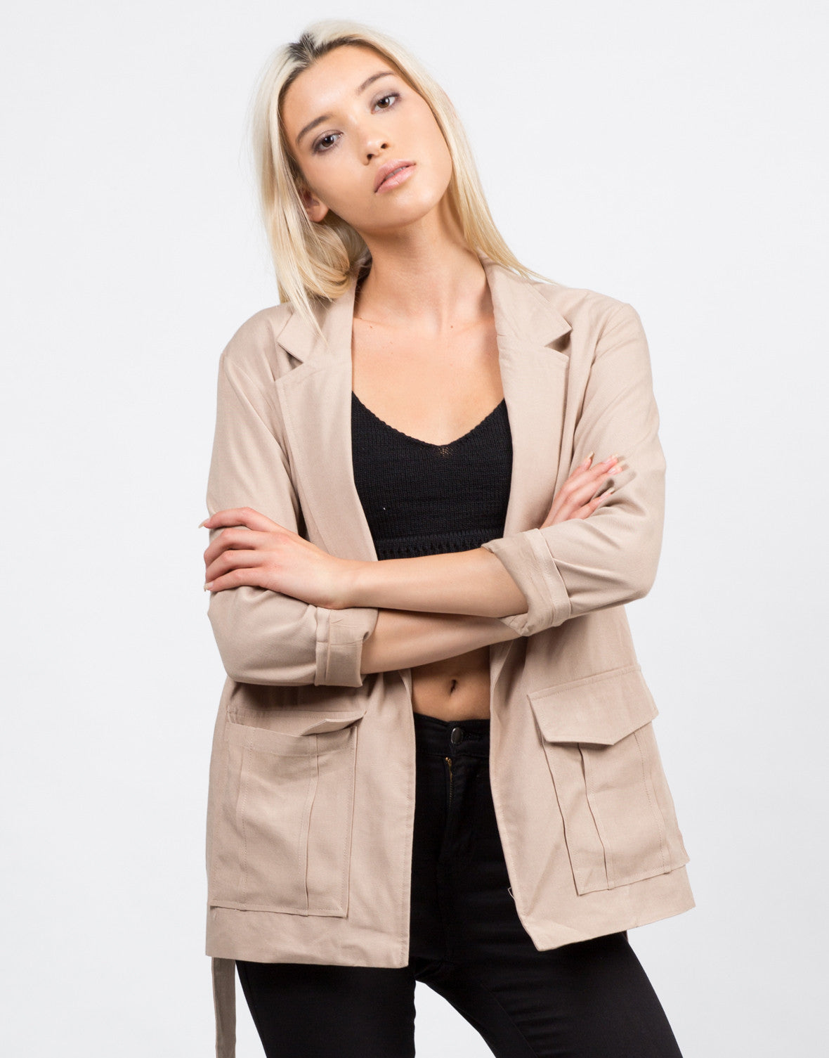 Front View of Belted Utility Jacket