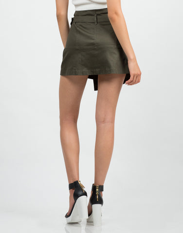 Belted Wrap Utility Skirt