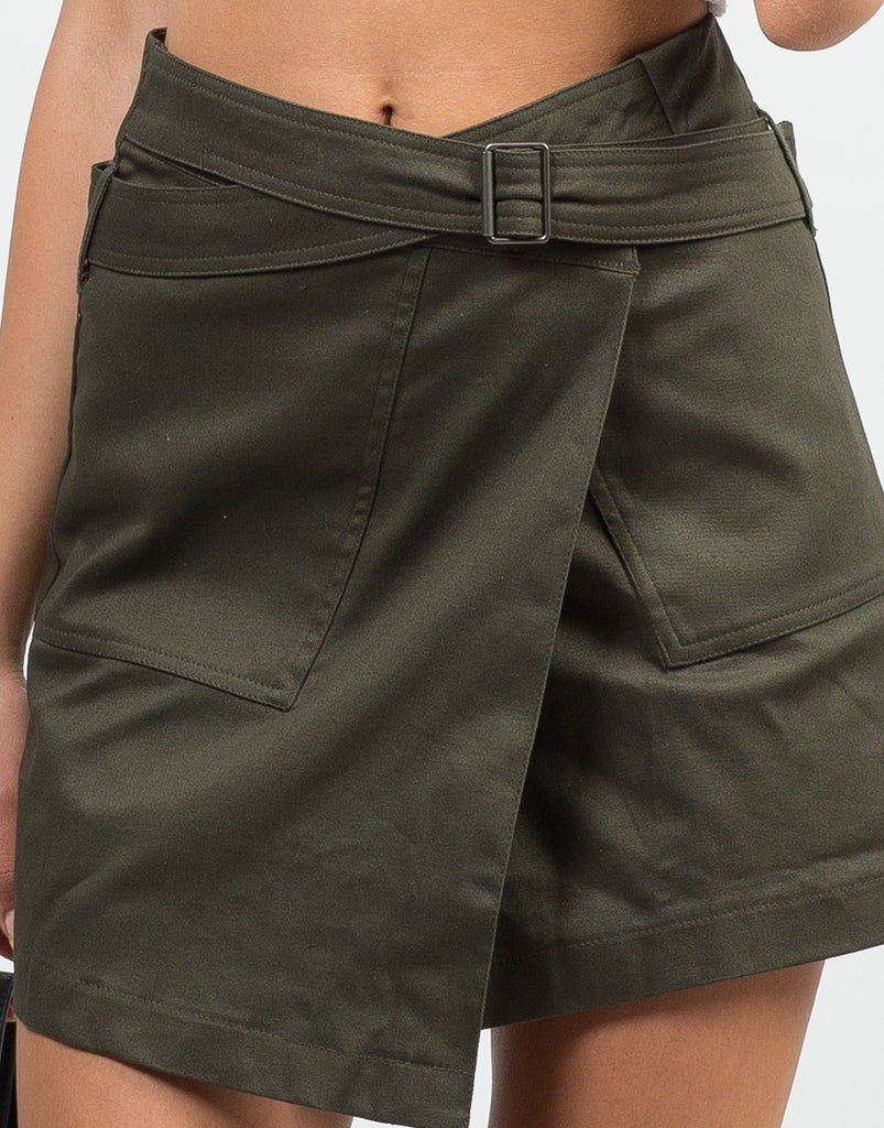 Detail of Belted Wrap Utility Skirt