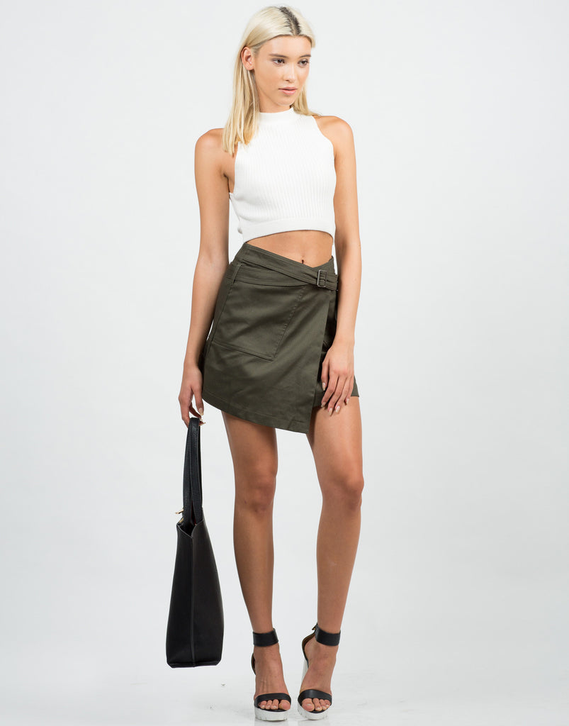 Front View of Belted Wrap Utility Skirt