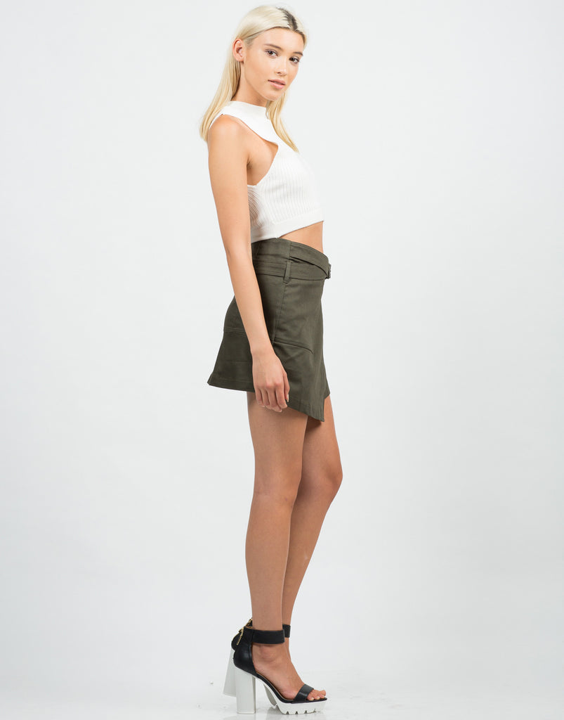 Side View of Belted Wrap Utility Skirt