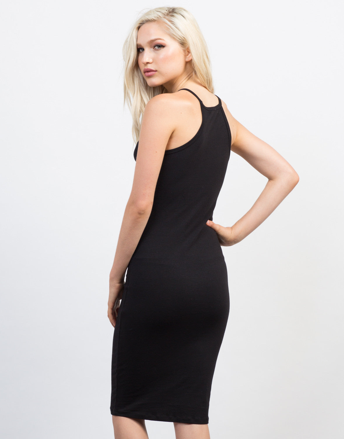 Back View of Bib Neck Midi Dress