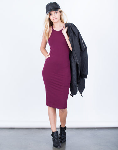 Bib Neck Midi Dress