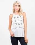 Front View of Bla Bla Bla Graphic Tank