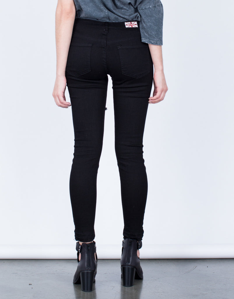 Back View of Black Cropped Denim Jeans