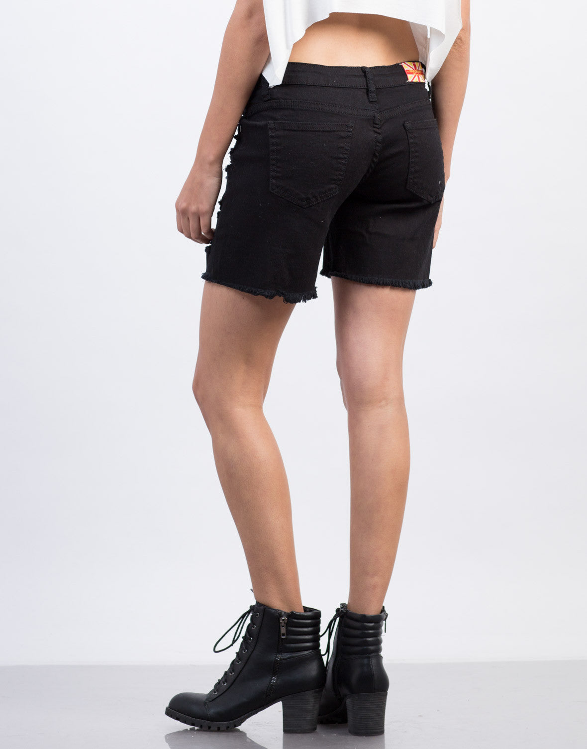 Back View of Black Destroyed Bermuda Shorts
