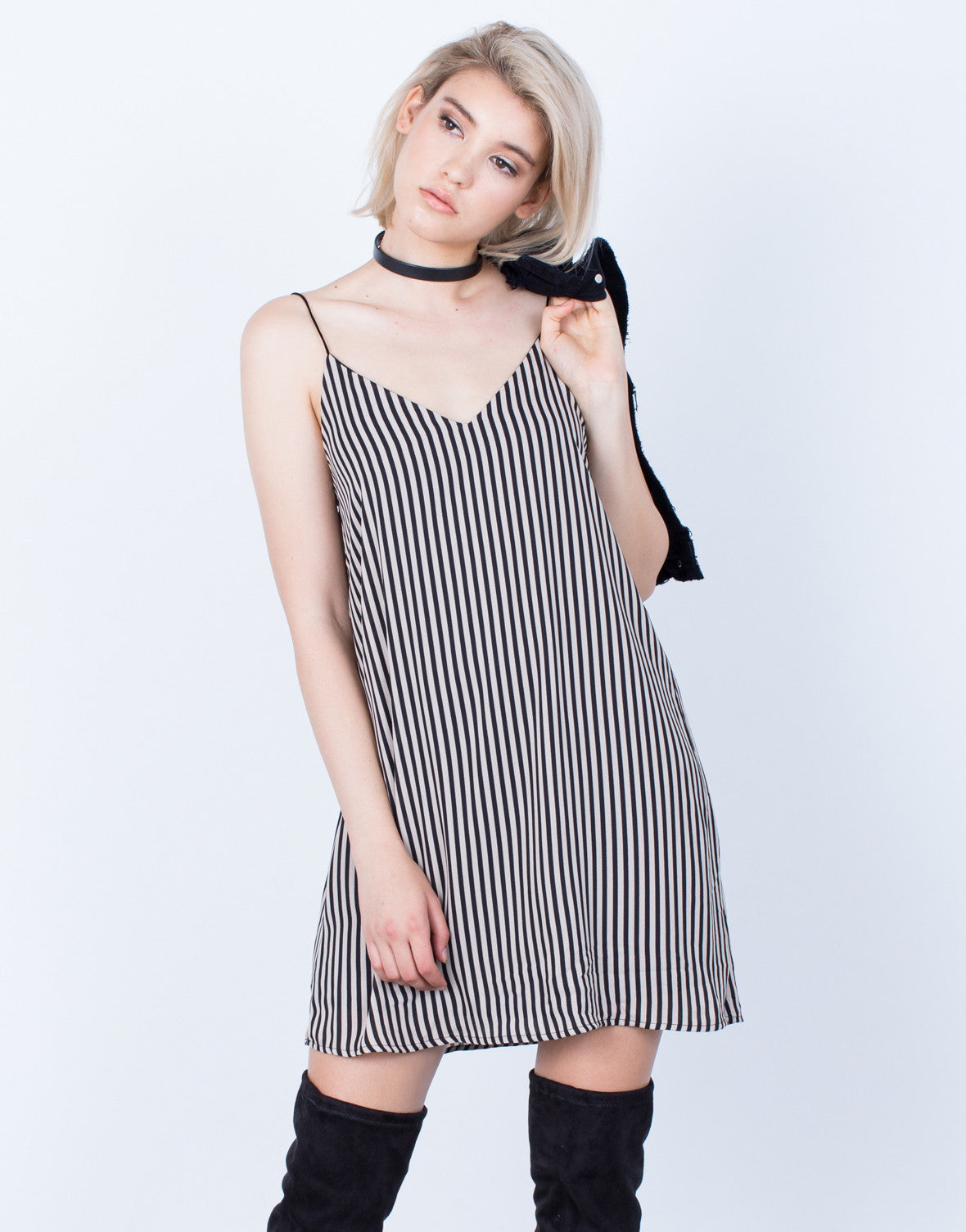 Front View of Black Lines Slip Dress