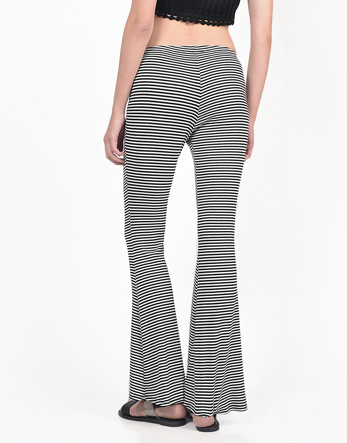 Back View of Black and White Striped Flared Pants