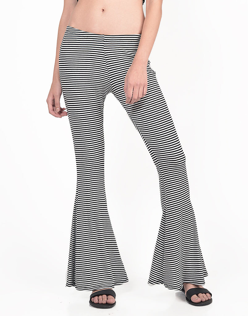 Detail of Black and White Striped Flared Pants