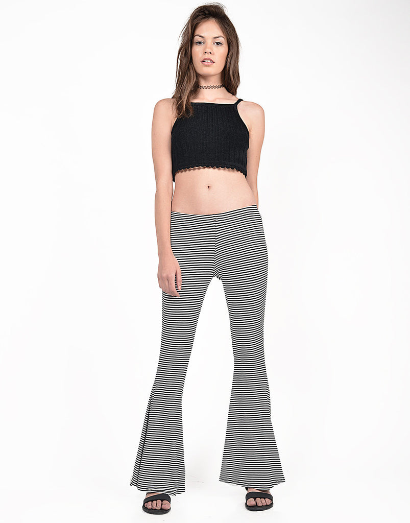 Front View of Black and White Striped Flared Pants