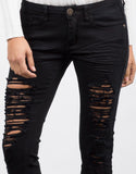 Detail of Black Destroyed Capri Jeans