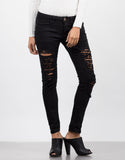 Front View of Black Destroyed Capri Jeans