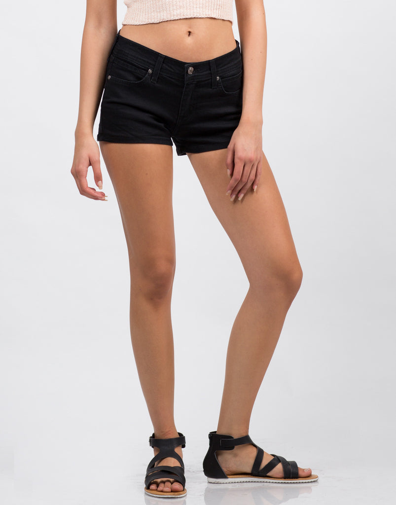 Front  View of Black Six Pocket Shorts