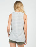 Back View of Black Striped Muscle Tee