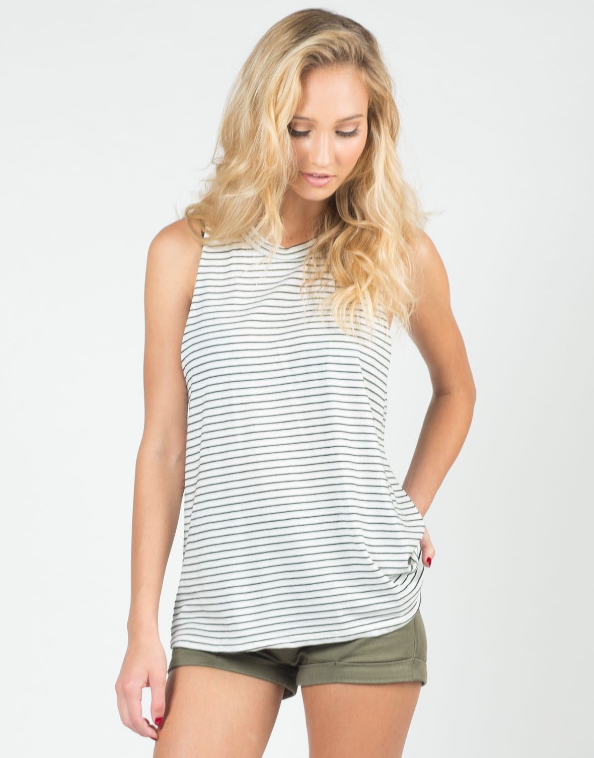 Front View of Black Striped Muscle Tee