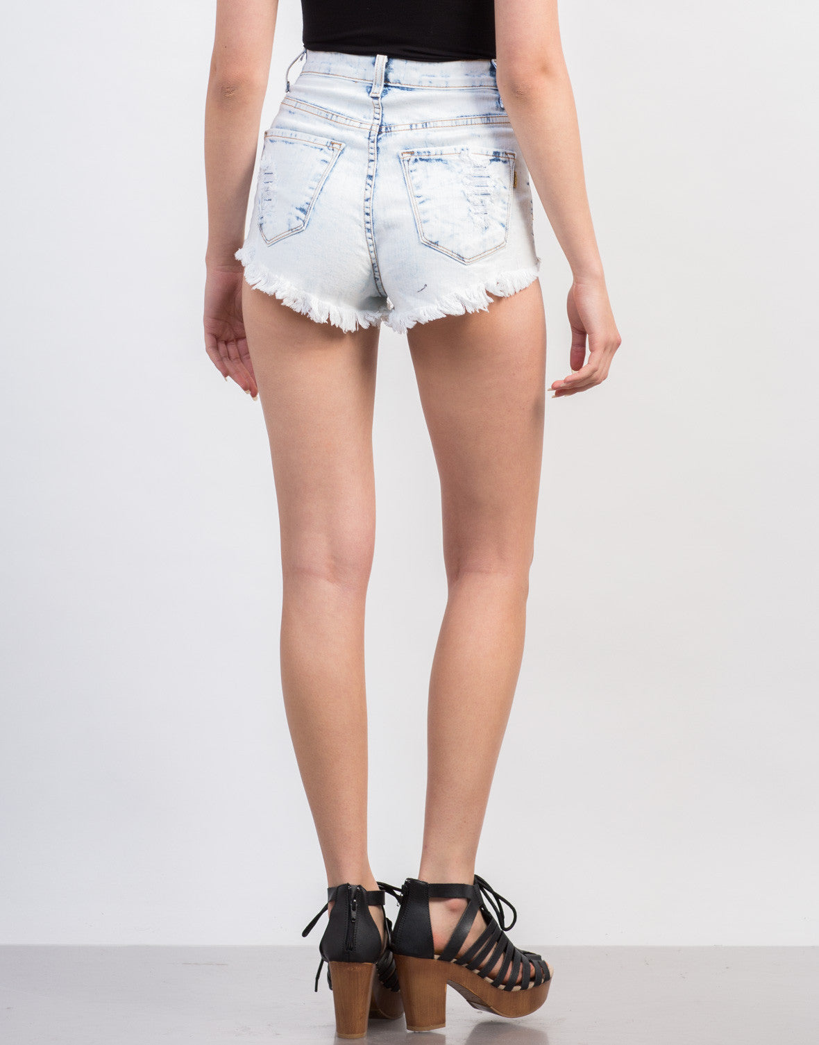 Back View of Bleached High Rise Shorts'