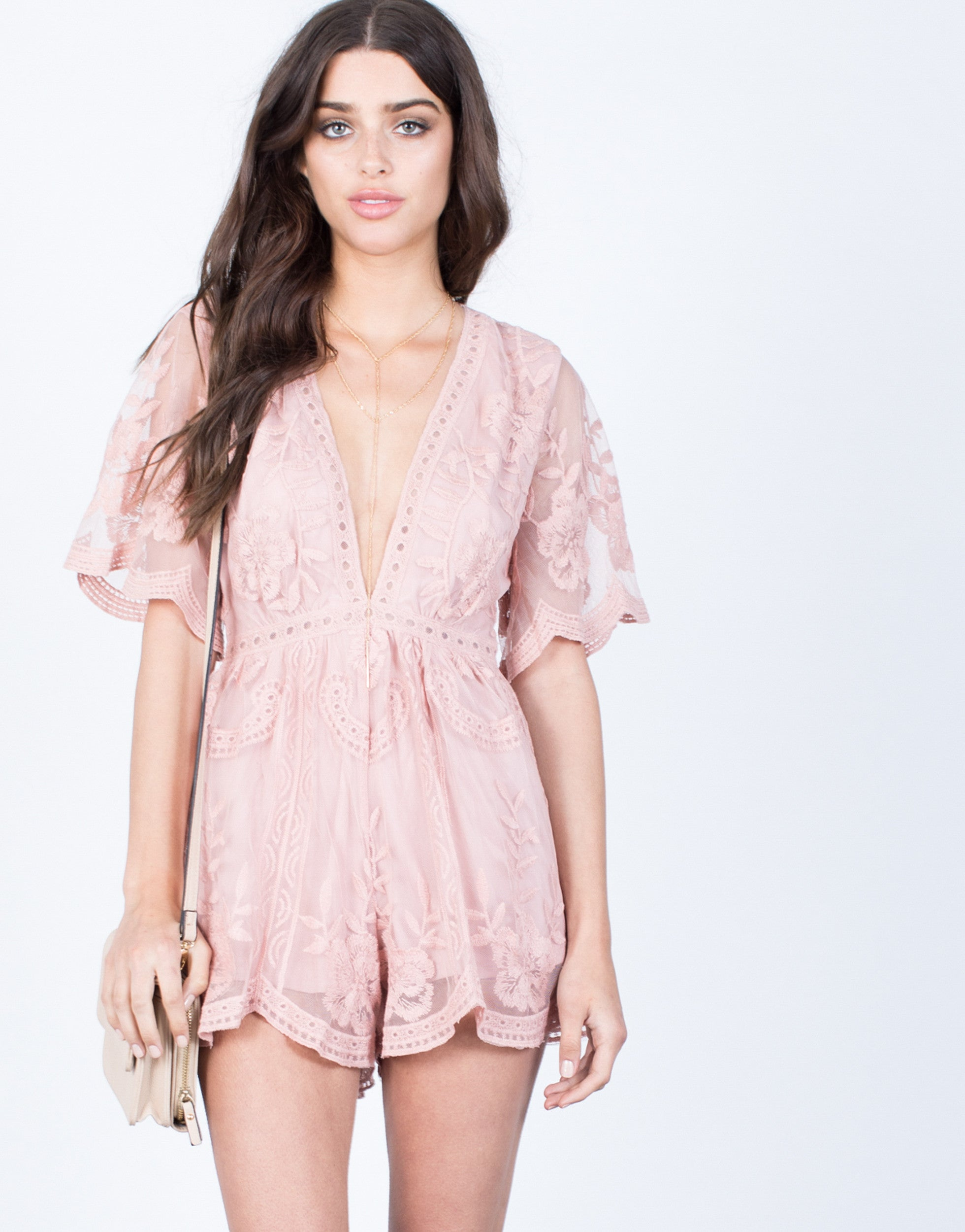 Front View of Blissful Floral Romper