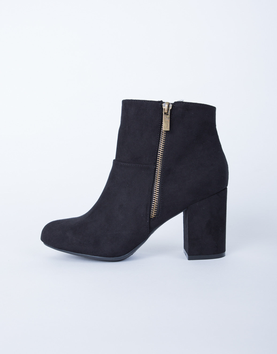 Block Heel Suede Booties