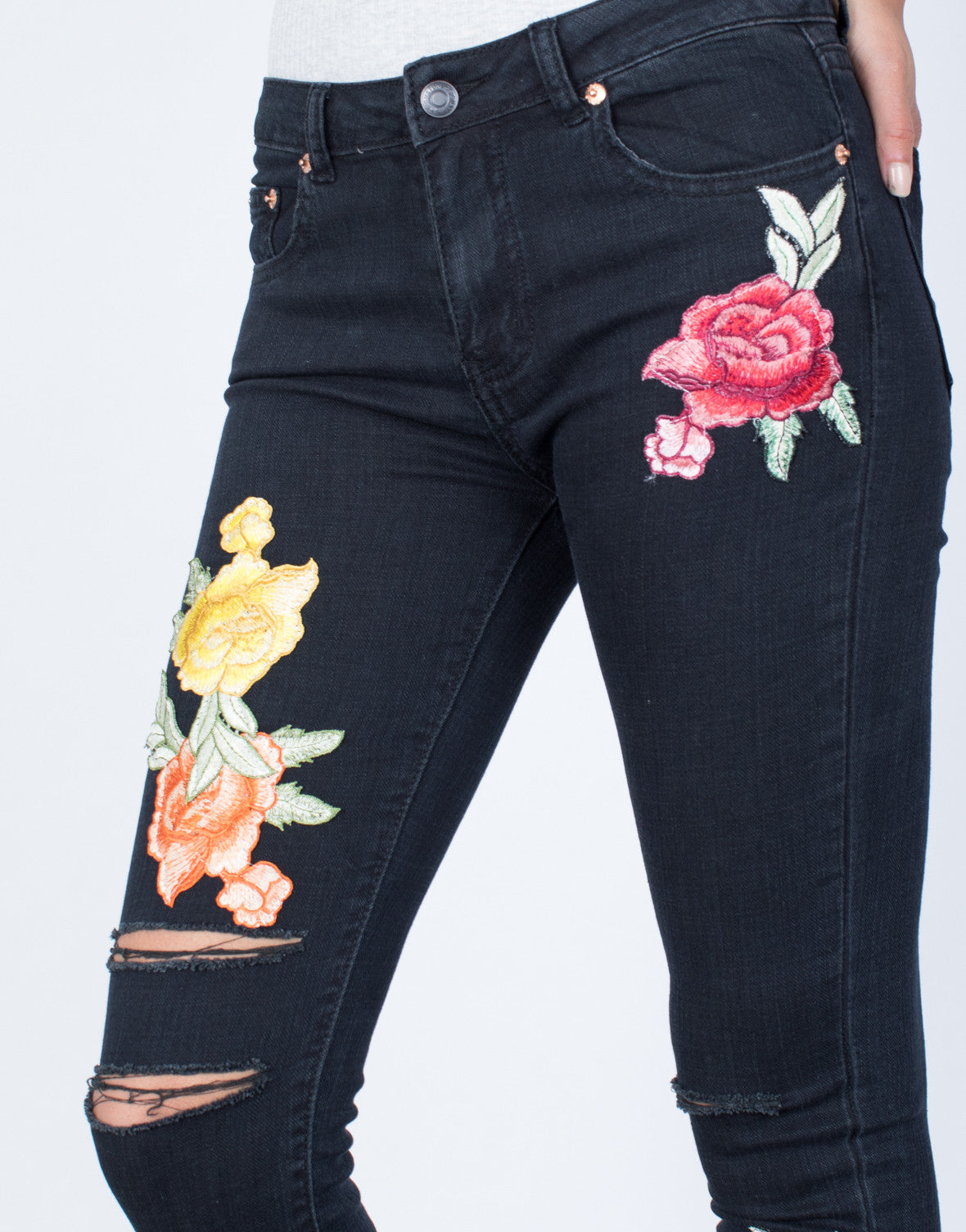 Detail of Bloom into Color Jeans