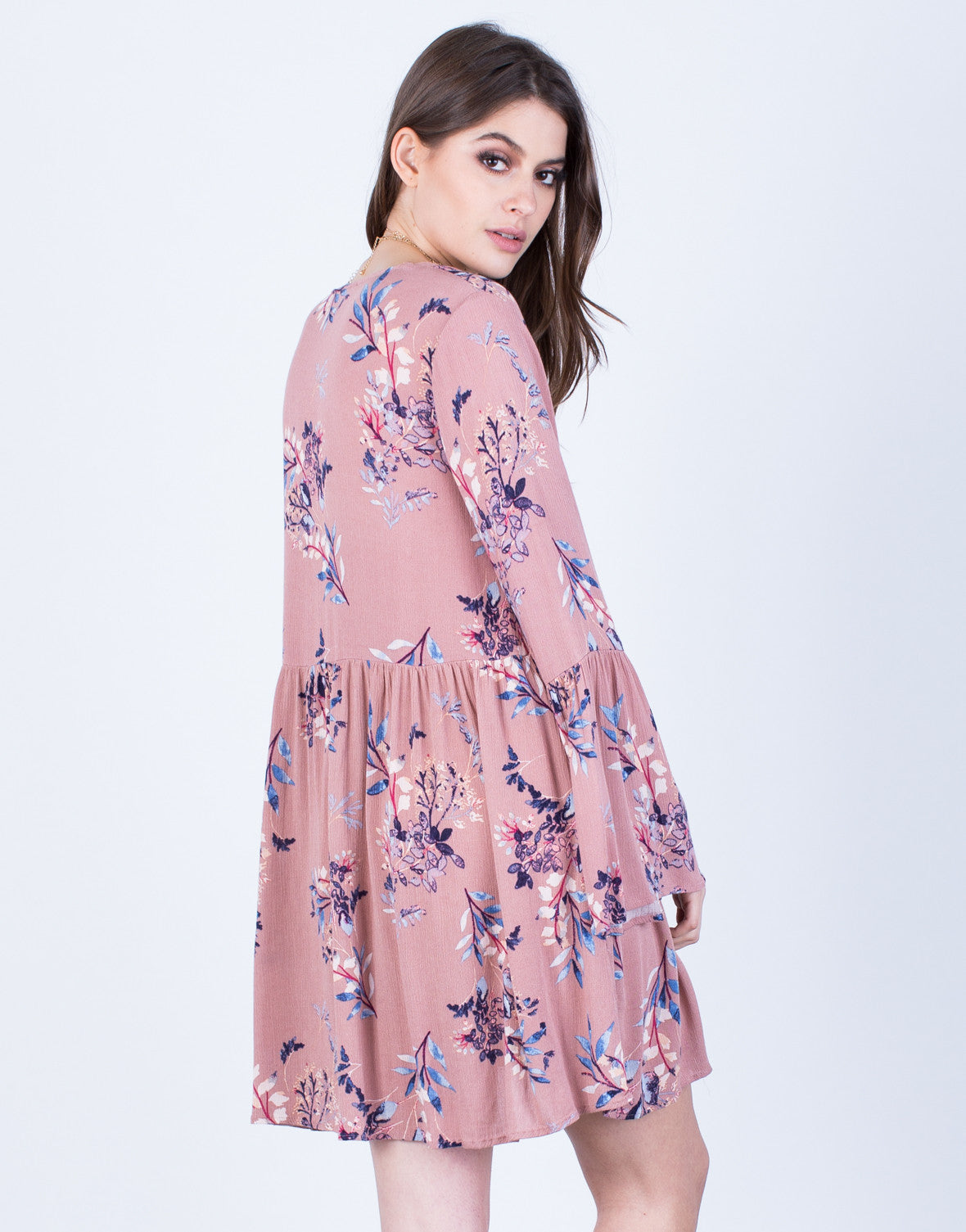 Back View of Blooming Floral Dress