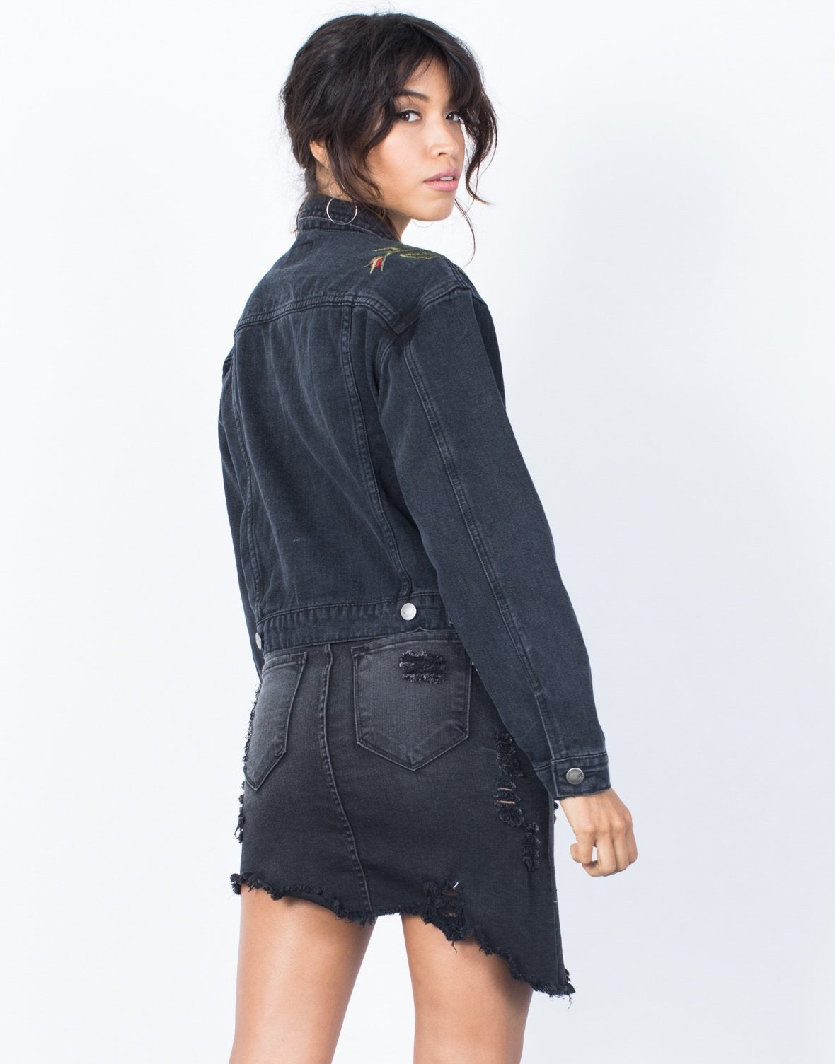 Blooming Patched Denim Jacket - 2020AVE