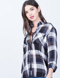 Blown Out Plaid Blouse