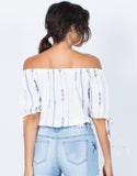 Off White Blue Lines Top - Back View
