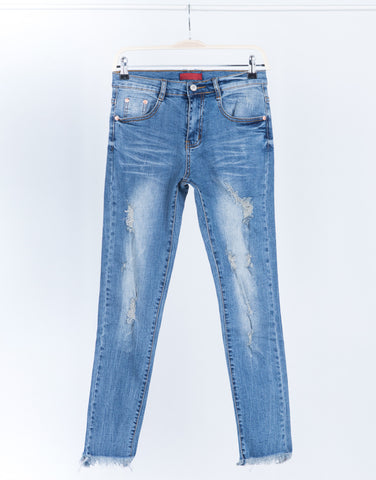Blurred Frayed Hemline Jeans