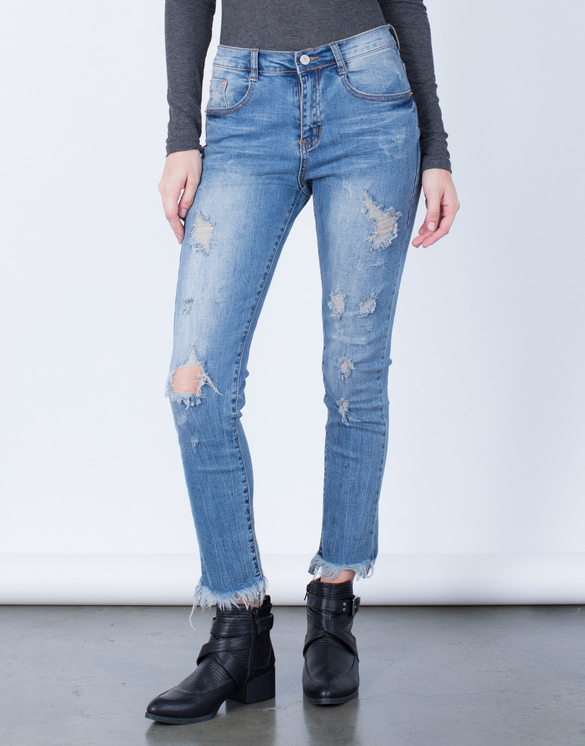 Front View of Blurred Frayed Hemline Jeans