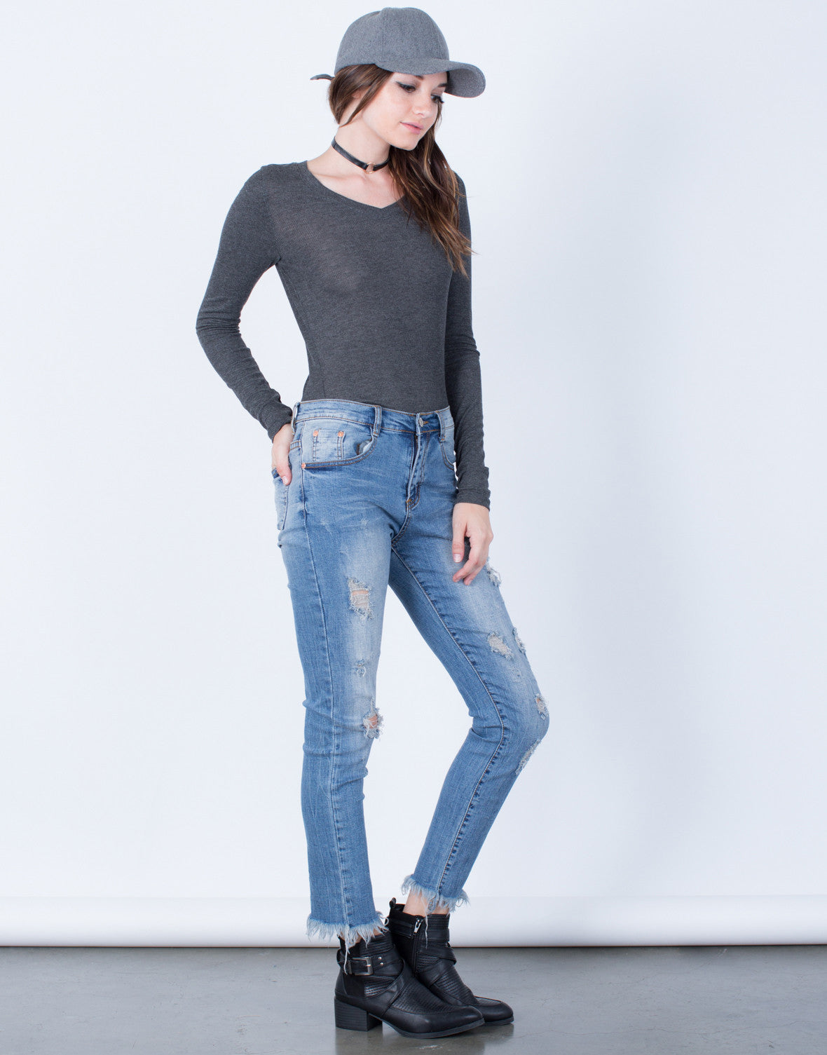 Side View of Blurred Frayed Hemline Jeans