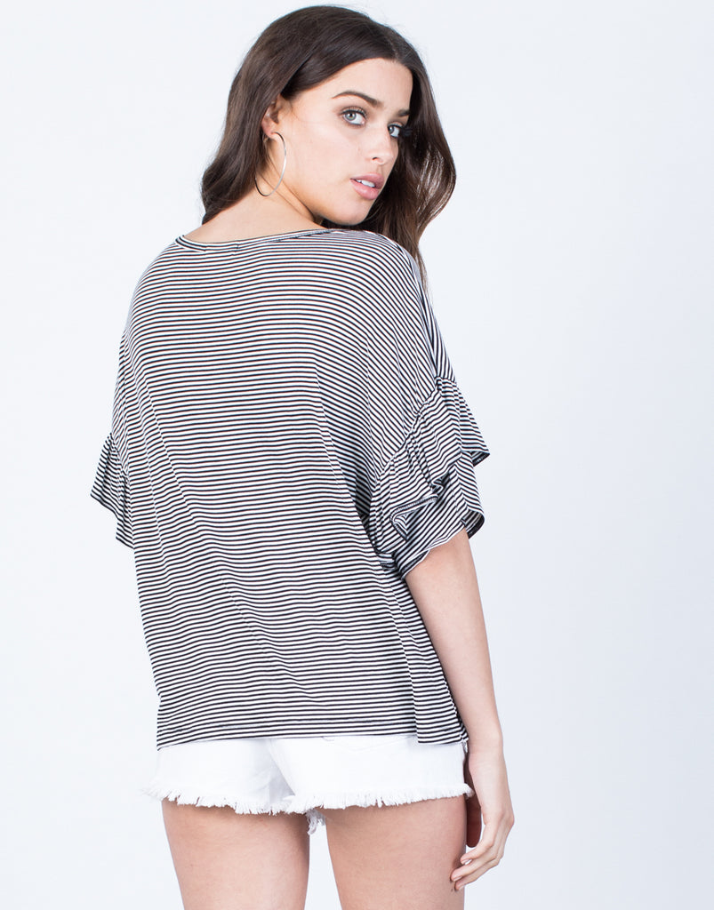 Back View of Blurred Lines Ruffle Top