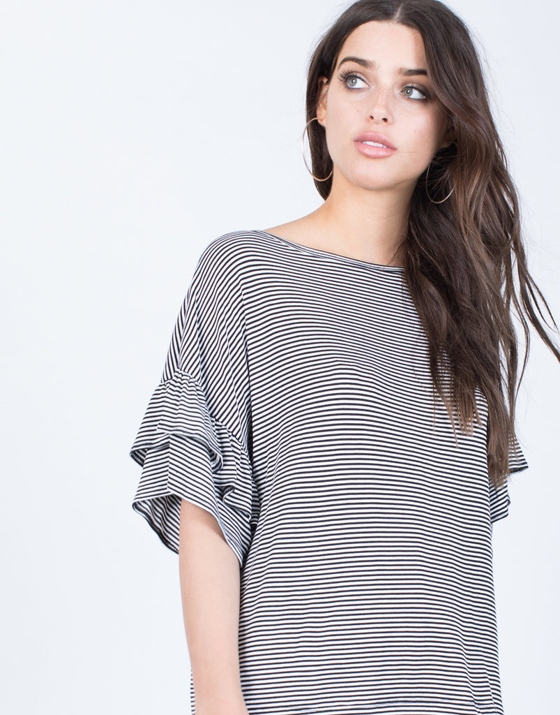 Detail of Blurred Lines Ruffle Top