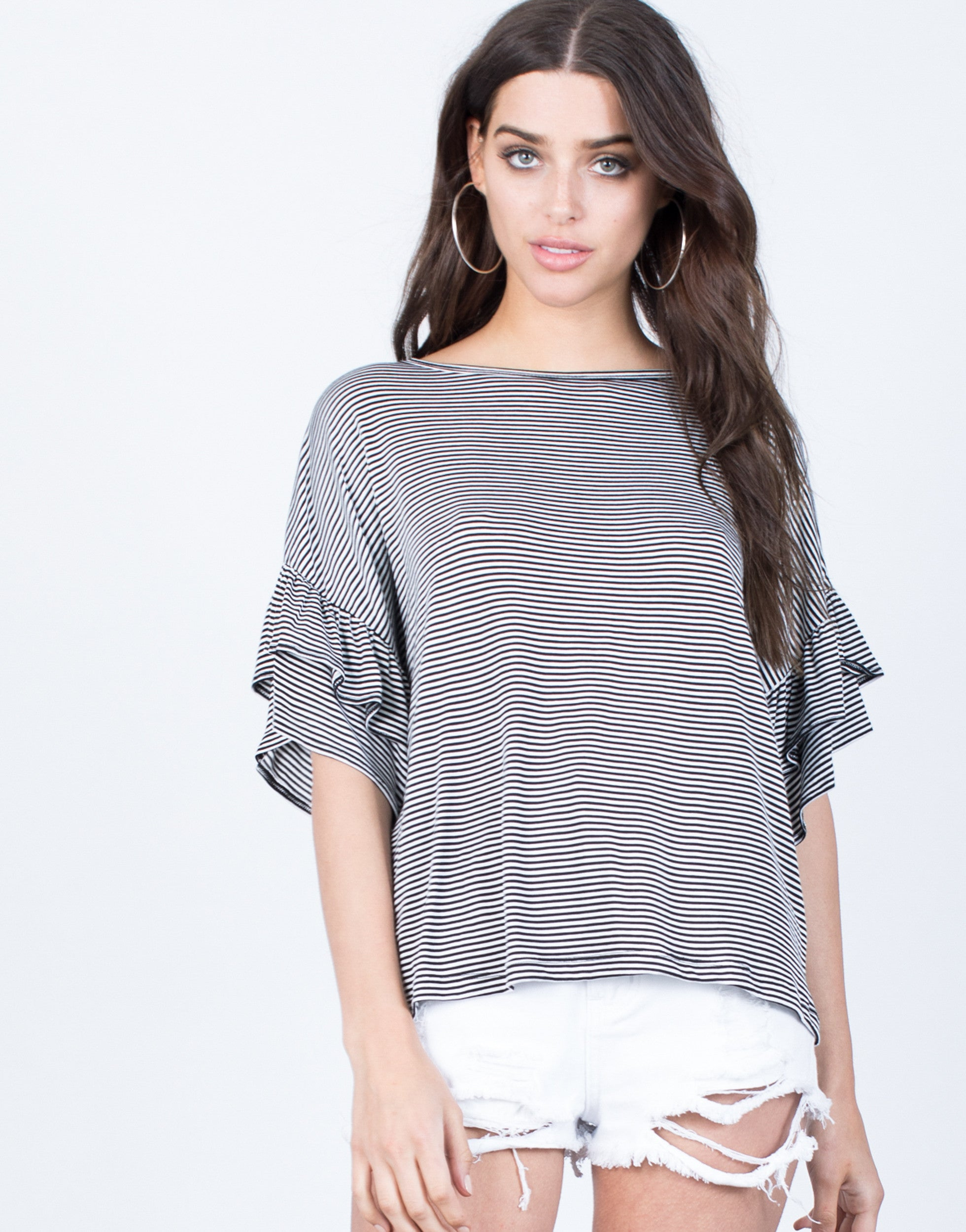 Front View of Blurred Lines Ruffle Top