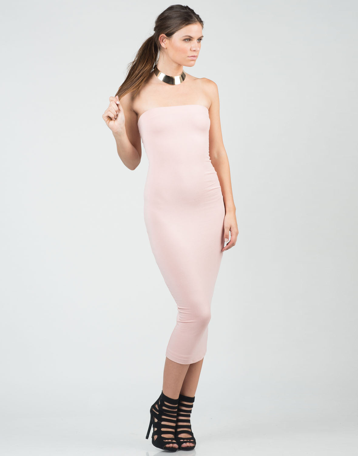 Front View of Blushin' Midi Dress
