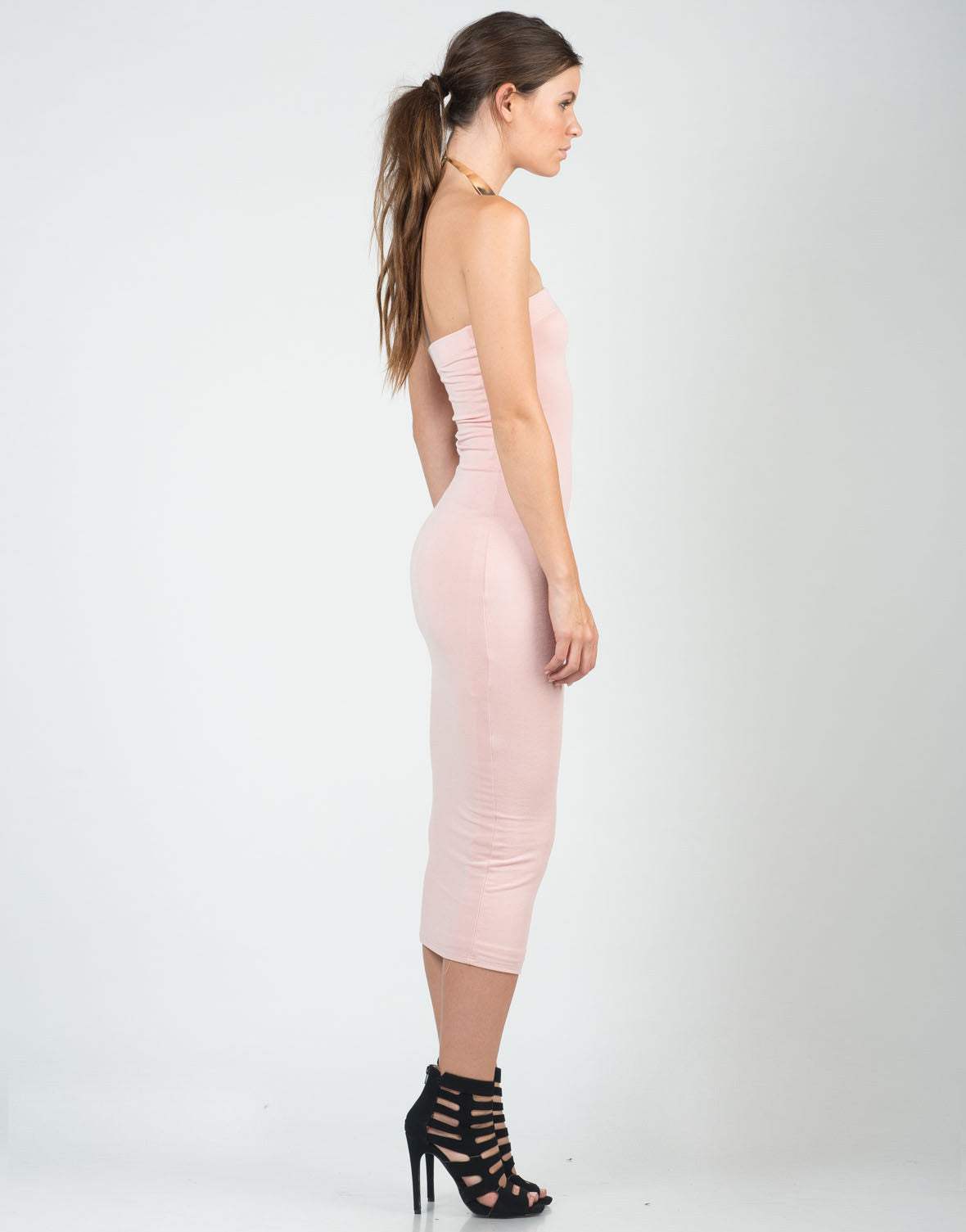 Side View of Blushin' Midi Dress