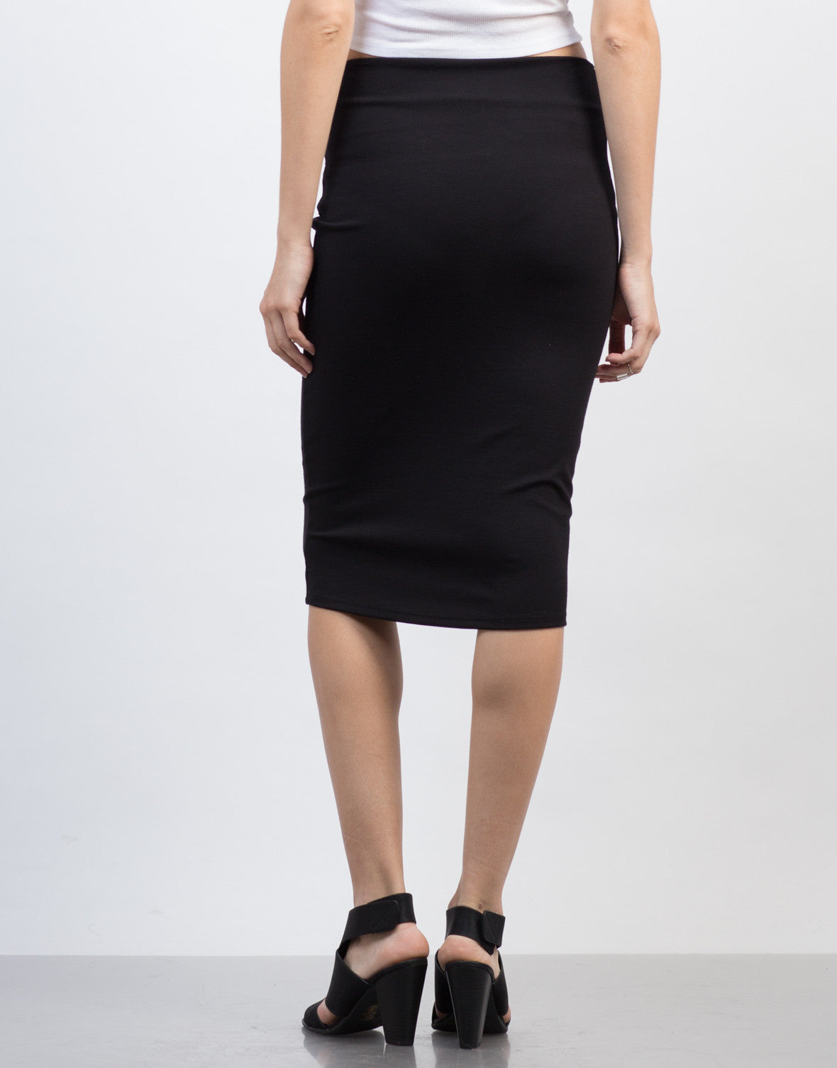 Back View of Bodycon Midi Skirt