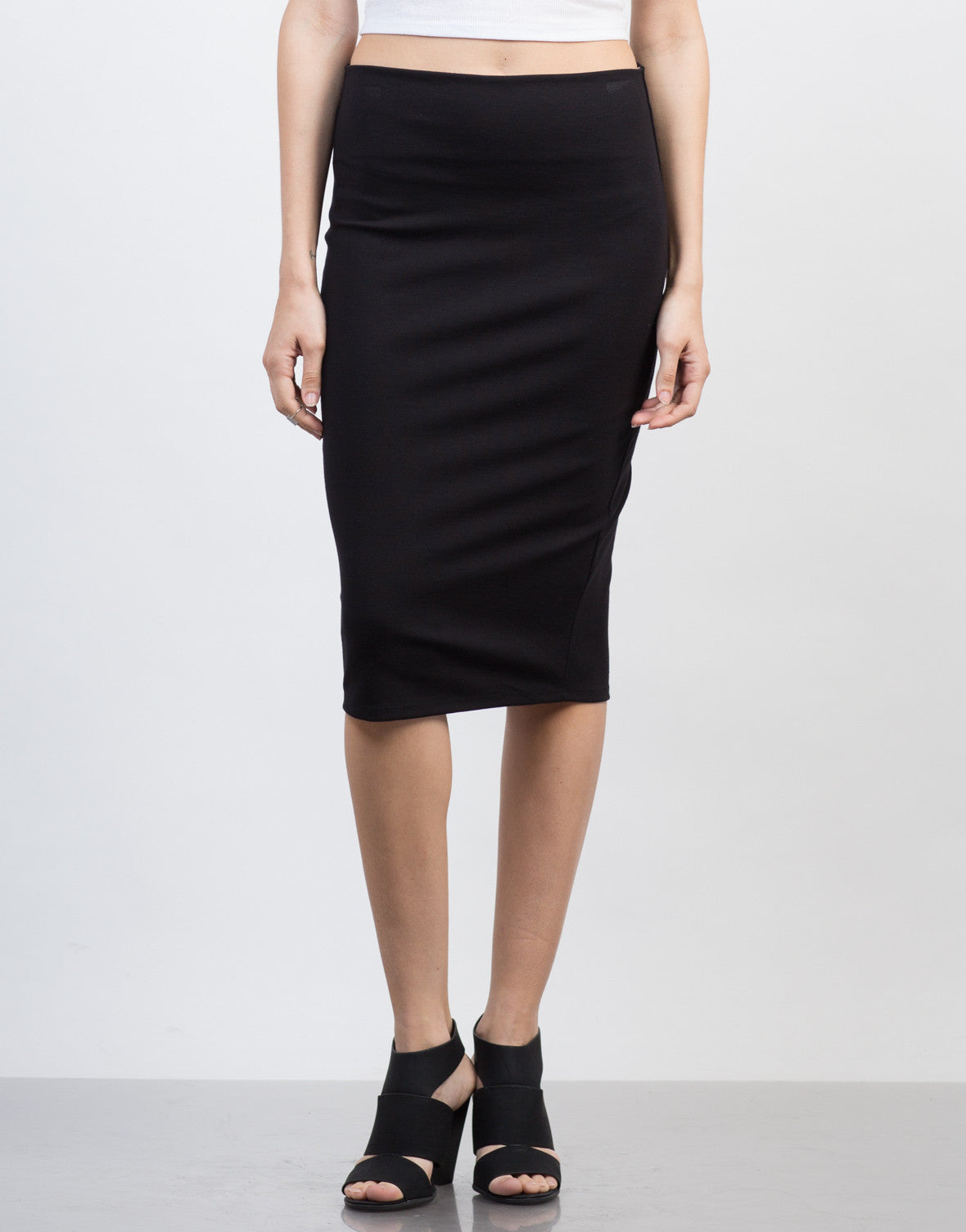 Front View of Bodycon Midi Skirt