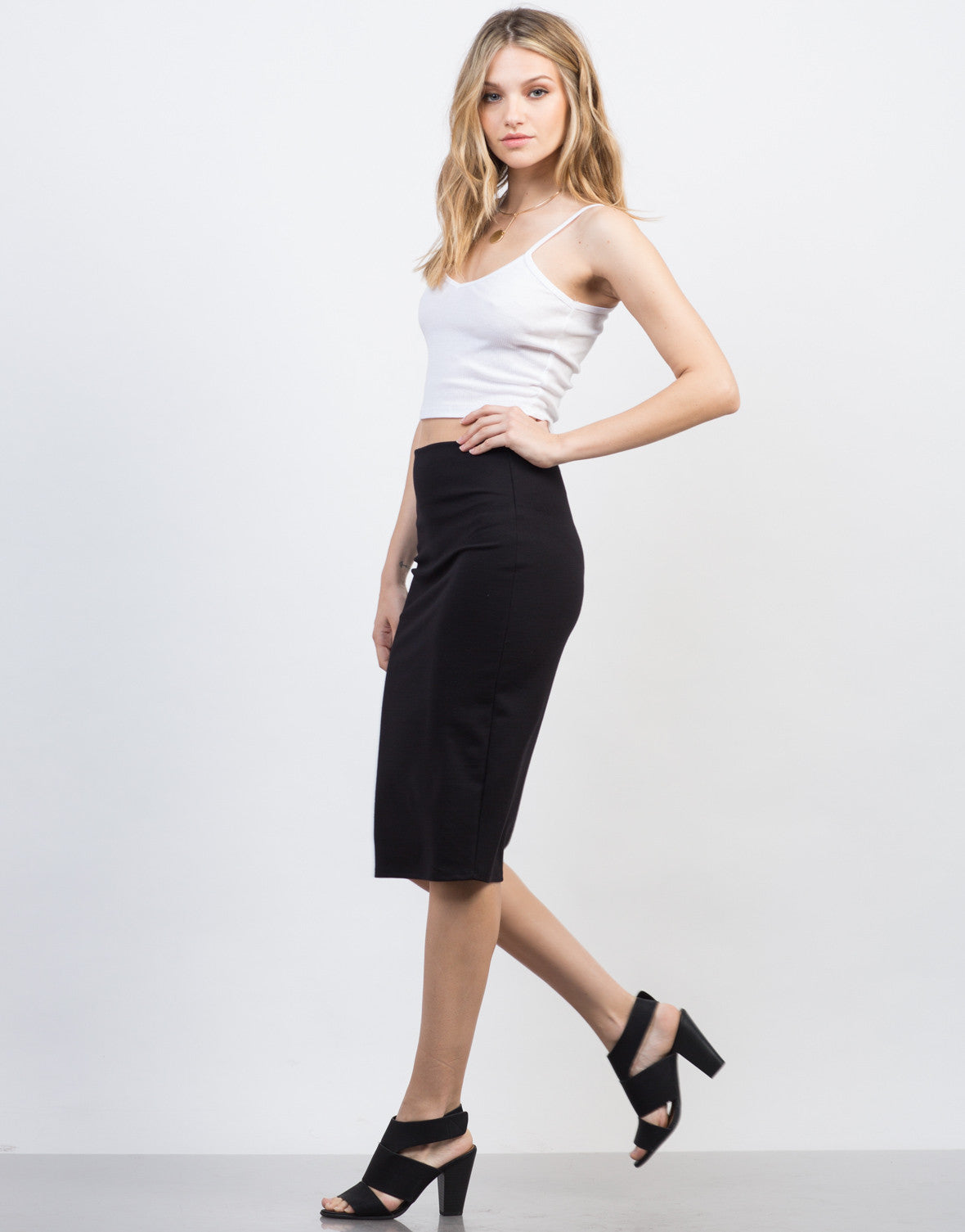 Side View of Bodycon Midi Skirt