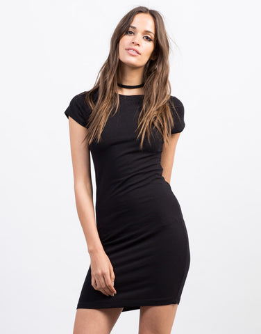 Front View of Bodycon T-Shirt Dress
