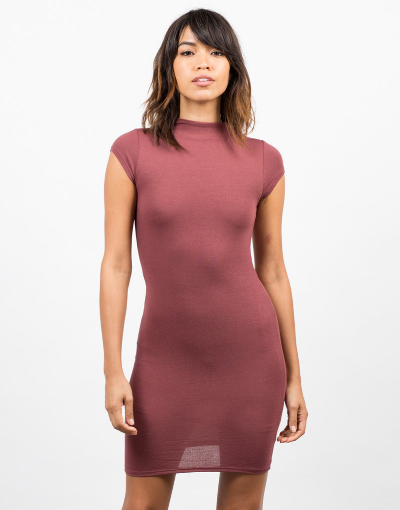 Front View of Bodycon Tee Dress