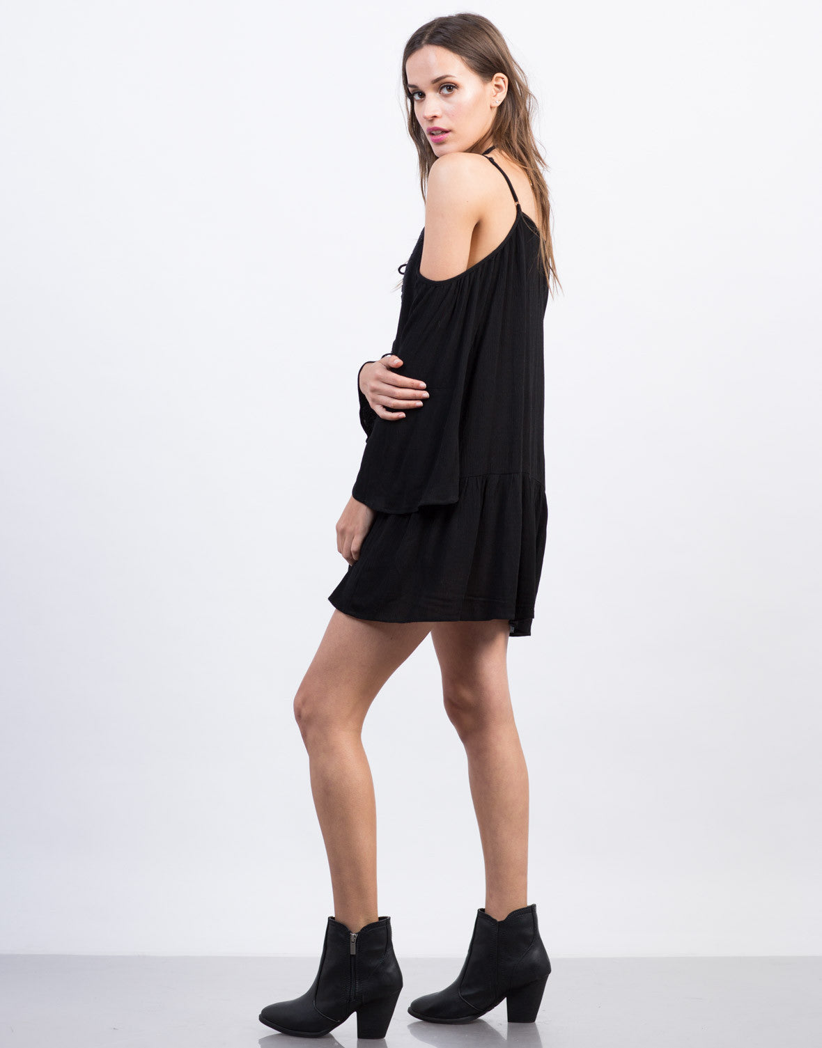 Side View of Boho Cold Shoulder Tunic Dress