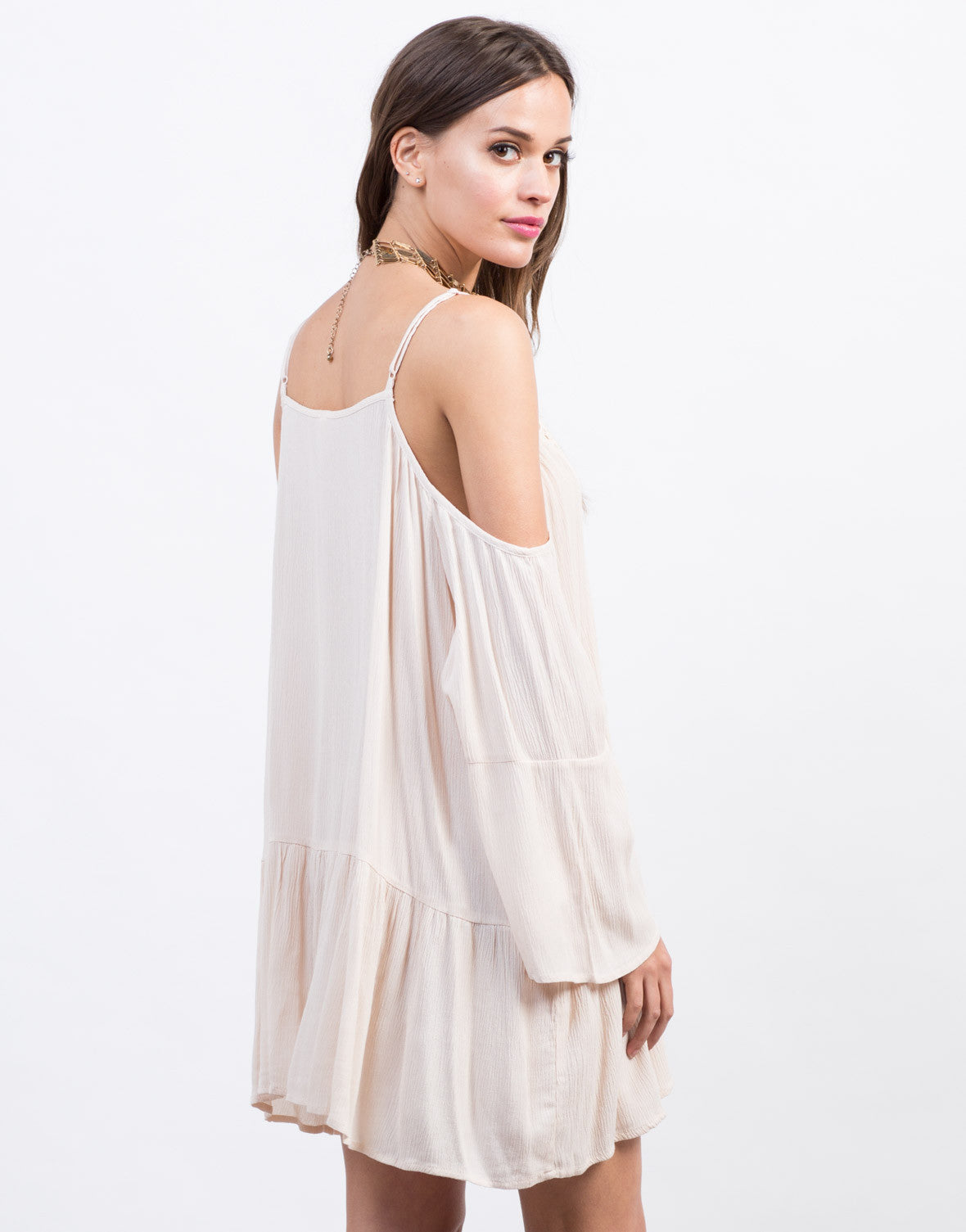 Back View of Boho Cold Shoulder Tunic Dress
