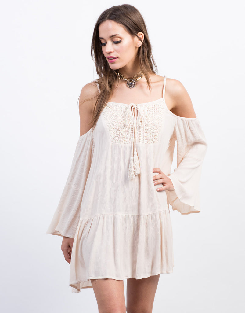 Front View of Boho Cold Shoulder Tunic Dress