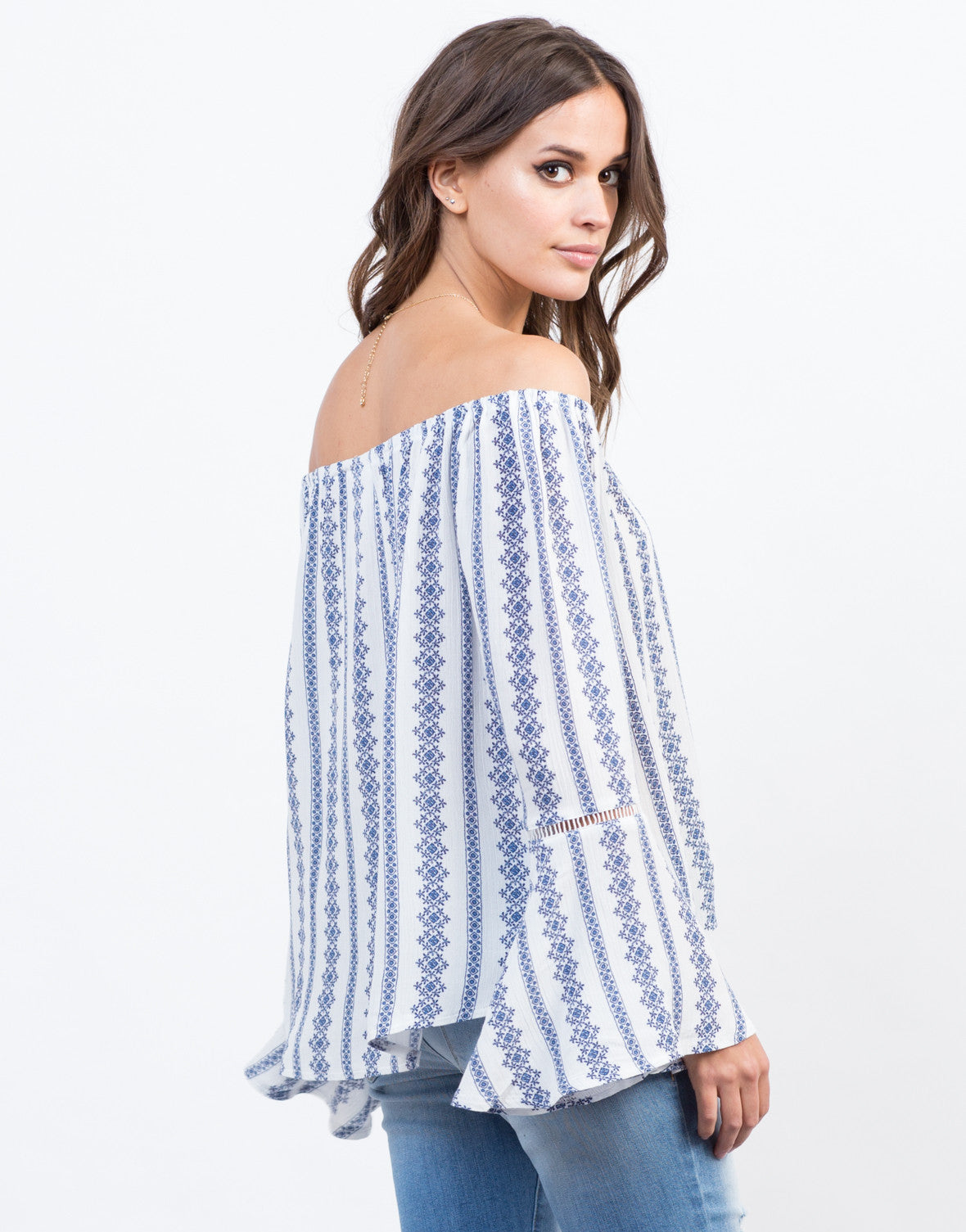 Back View of Boho Bell Sleeve Top