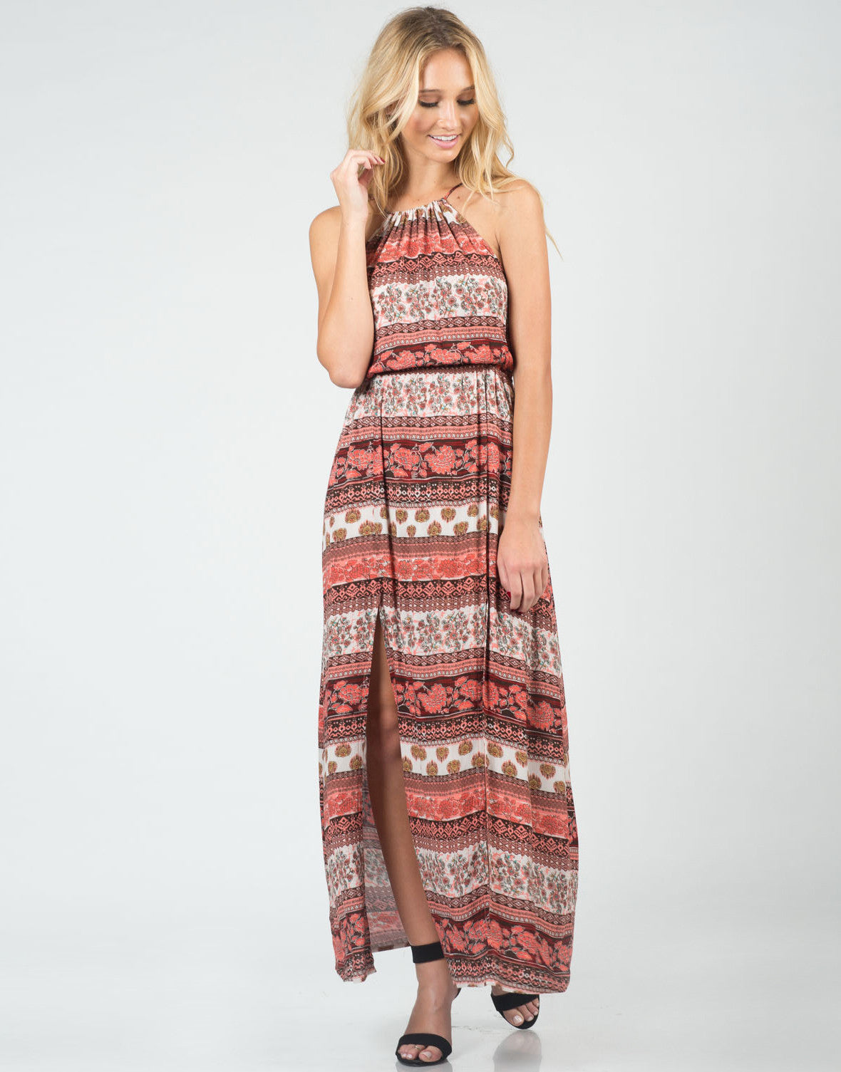 Front View of Boho Front Slit Maxi Dress