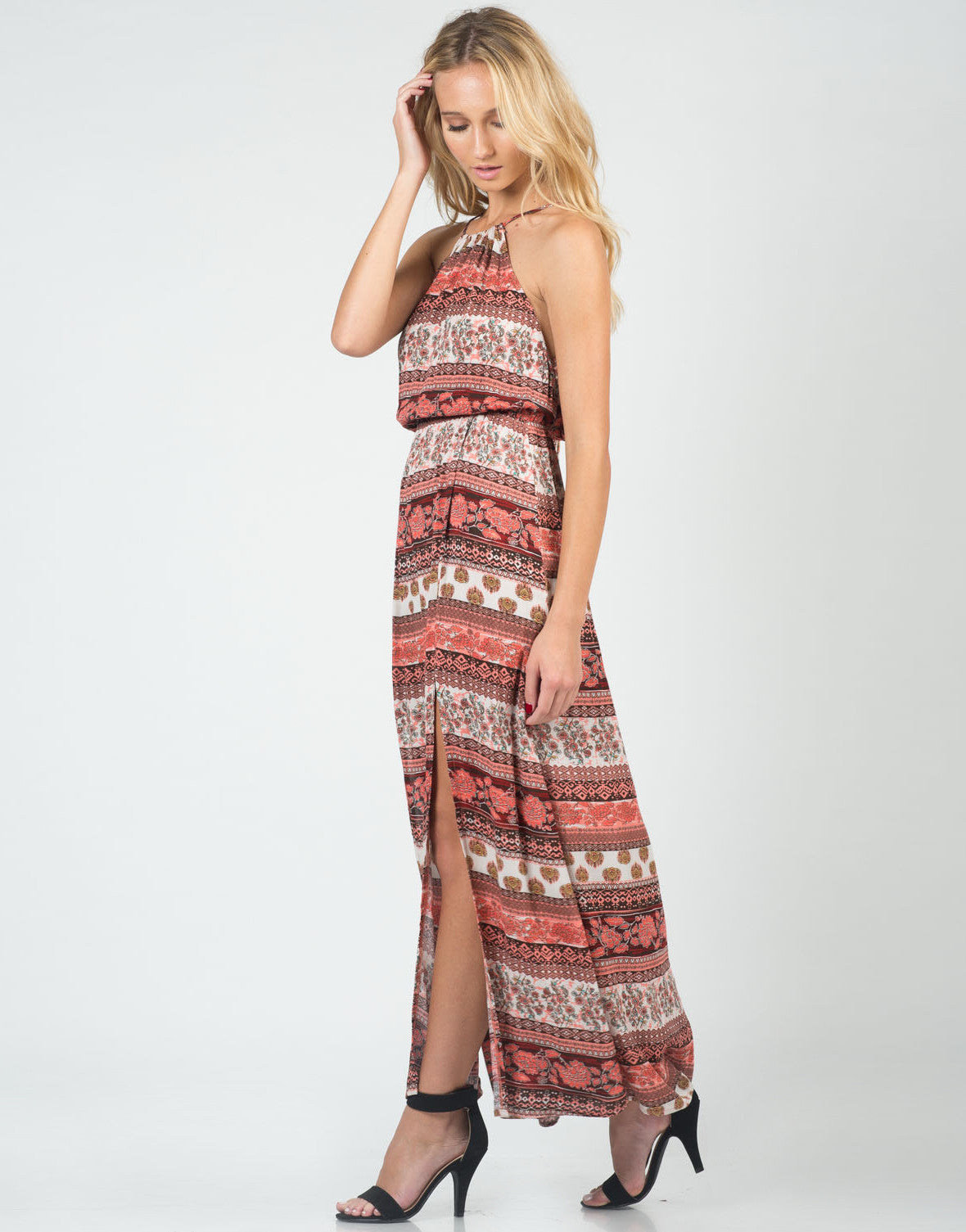 Back View of Boho Front Slit Maxi Dress