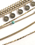 Boho Turquoise Layered Chain Belt