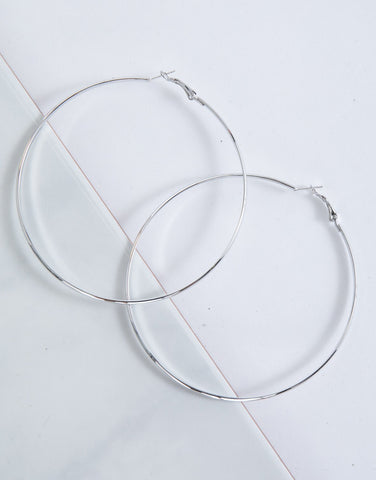 Silver Bold Large Hoops
